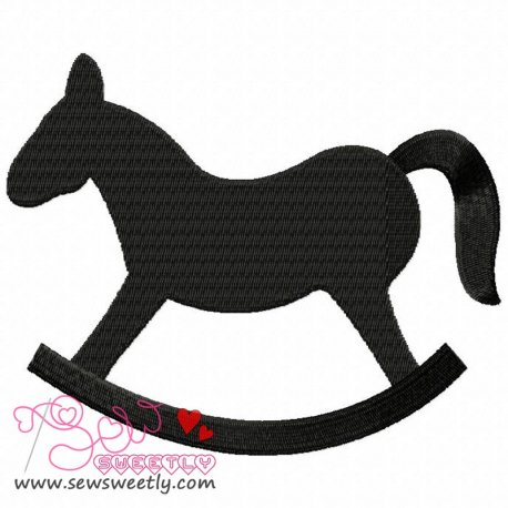 Rocking Horse Silhouette Machine Embroidery Design For Kids
