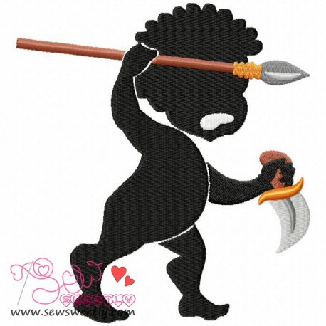 Silhouette Angry Boy Embroidery Design Pattern- Category- Cartoons And Kids Designs- 1