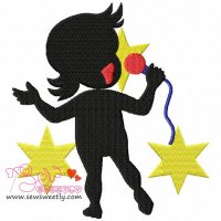 Silhouette Singing Girl Embroidery Design