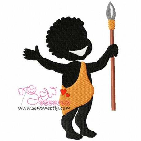 Silhouette Villager Boy Machine Embroidery Design For Kids