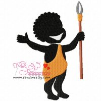 Silhouette Villager Boy Embroidery Design
