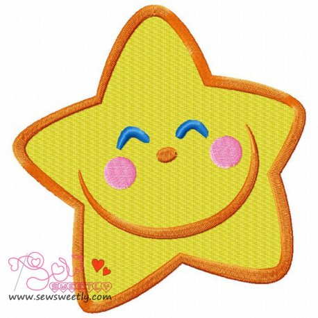 Smiling Little Star Machine Embroidery Design For Kids