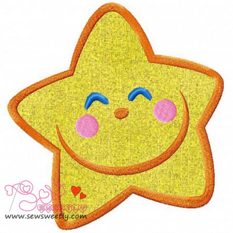 Smiling Little Star Machine Applique Design For Kids And Babies
