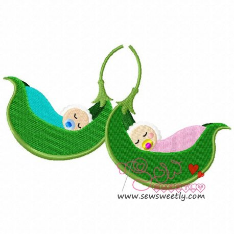 Two Babies In a Pod Machine Embroidery Design For Kids