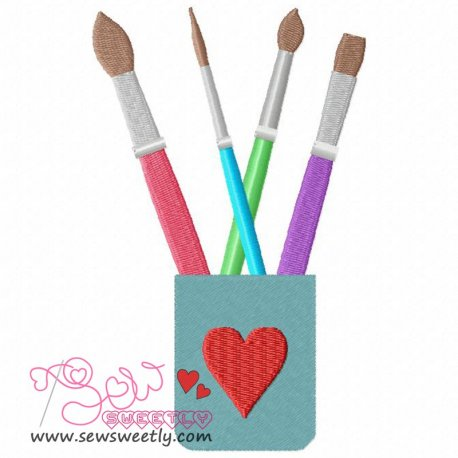 Paint Brushes Machine Embroidery Design For Kids.