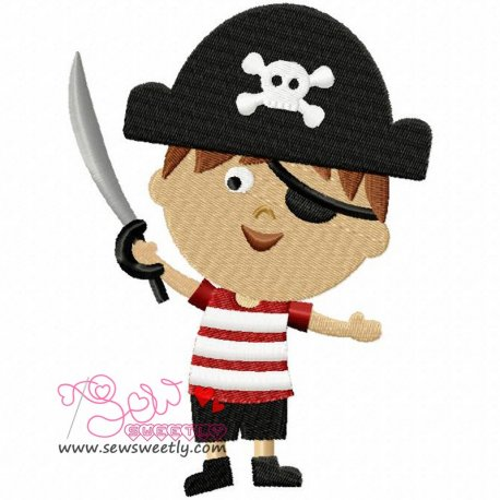 Pirate Boy-1 Machine Embroidery Design For Kids