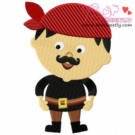 Mustache Pirate Boy Machine Embroidery Design For Kids