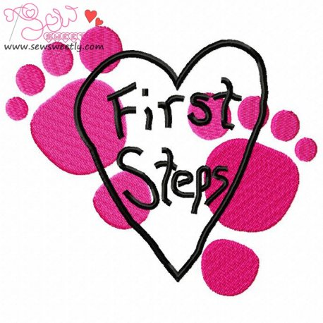 First Steps-1 Machine Embroidery Design For Kids