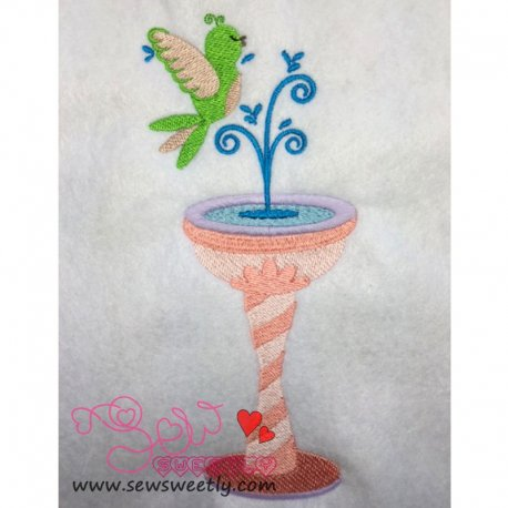 Bird And Fountain Embroidery Design Pattern- Category- Birds Designs- 1