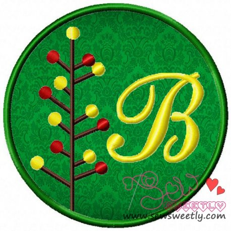 Christmas Font Letter-B Machine Applique Design For Kids And Christmas