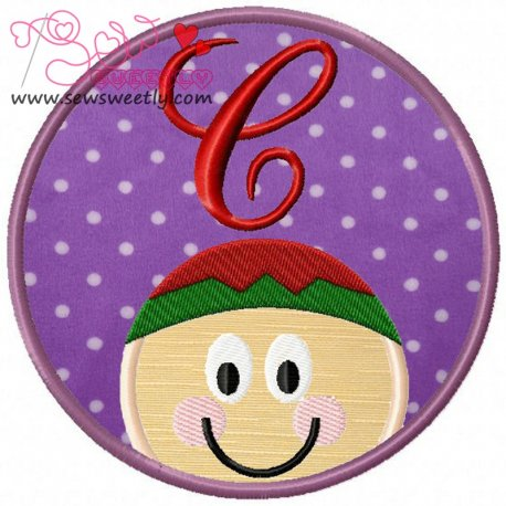 Christmas Font Letter-C Machine Applique Design For Kids And Christmas
