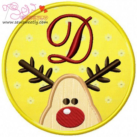 Christmas Font Letter-D Machine Applique Design For Kids And Christmas