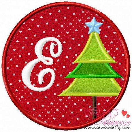 Christmas Font Letter-E Machine Applique Design For Kids And Christmas