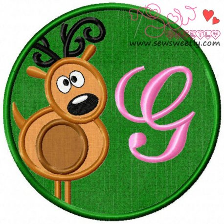 Christmas Font Letter-G Machine Applique Design For Kids And Christmas