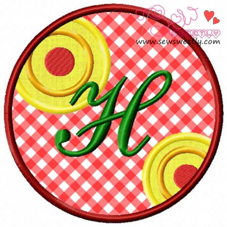 Christmas Font Letter-H Machine Applique Design For Kids And Christmas
