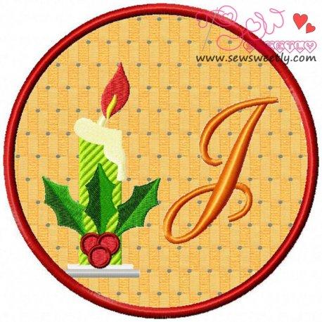 Christmas Font Letter-J Machine Applique Design For Kids And Christmas