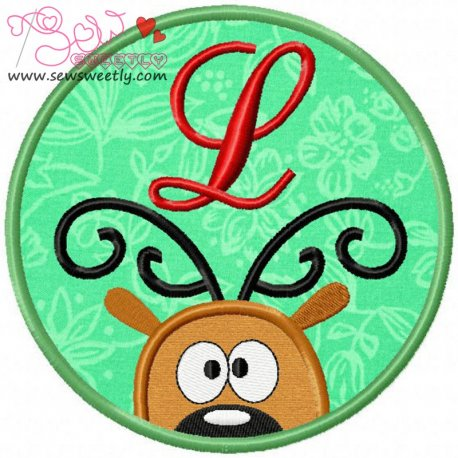 Christmas Font Letter-L Machine Applique Design For Kids And Christmas