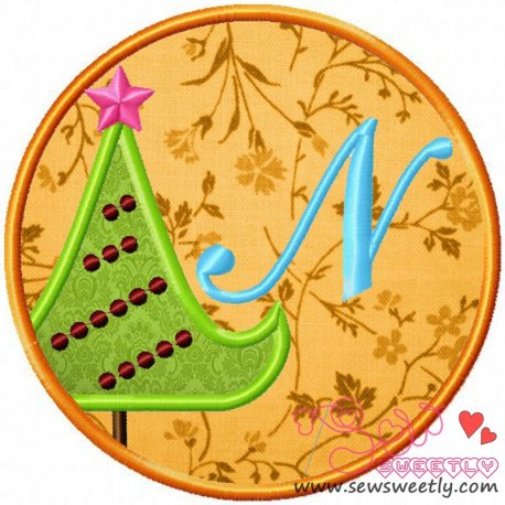 Christmas Font Letter-N Machine Applique Design For Kids And Christmas
