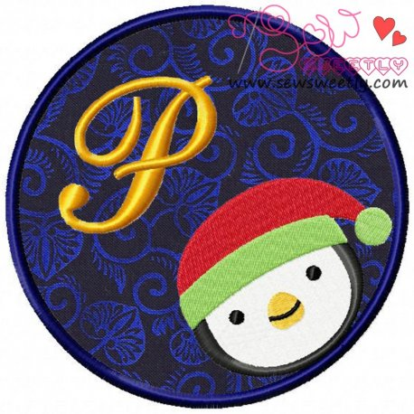 Christmas Font Letter-P Machine Applique Design For Kids And Christmas