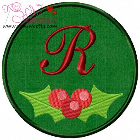 Christmas Font Letter-R Machine Applique Design For Kids And Christmas