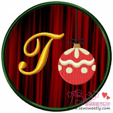 Christmas Font Letter-T Machine Applique Design For Kids And Christmas