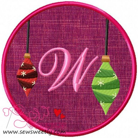 Christmas Font Letter-W Machine Applique Design For Kids And Christmas
