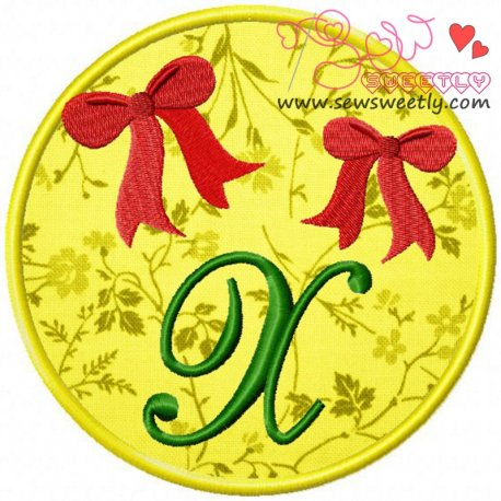 Christmas Font Letter-X Machine Applique Design For Kids And Christmas