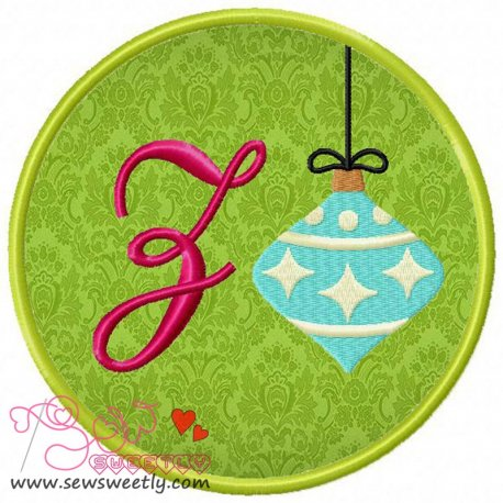 Christmas Font Letter-Z Machine Applique Design For Kids And Christmas