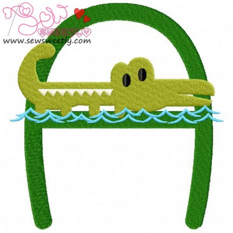 Animal Letter-A- Alligator Machine Embroidery Design For Kids