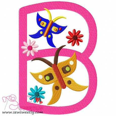 Animal Letter-B- Butterfly Machine Embroidery Design For Kids