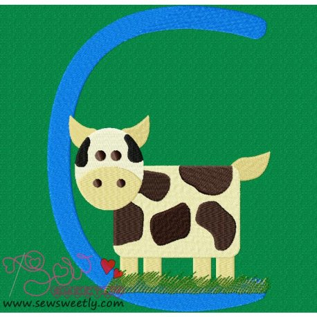 Animal Letter-C- Cow Machine Embroidery Design For Kids