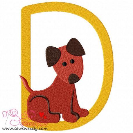 Animal Letter-D- Dog Machine Embroidery Design For Kids