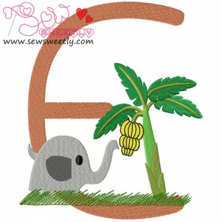 Animal Letter-E- Elephant Machine Embroidery Design For Kids