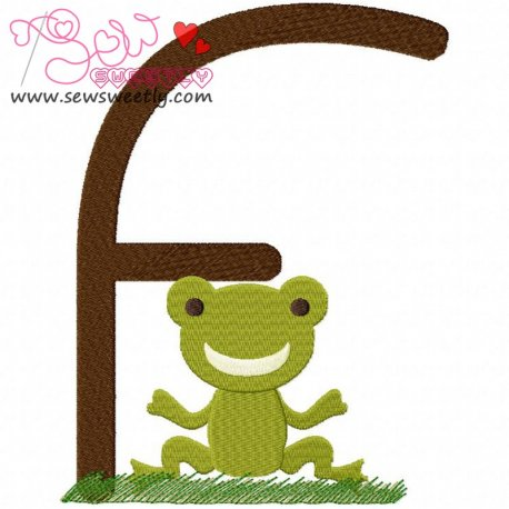Animal Letter-F- Frog Machine Embroidery Design For Kids