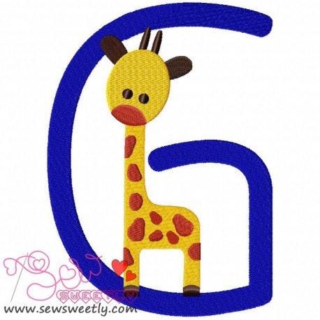 Animal Letter-G- Giraffe Machine Embroidery Design For Kids