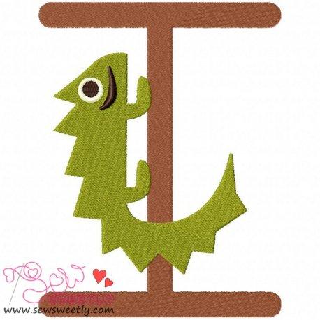 Animal Letter-I- Iguana Machine Embroidery Design For Kids