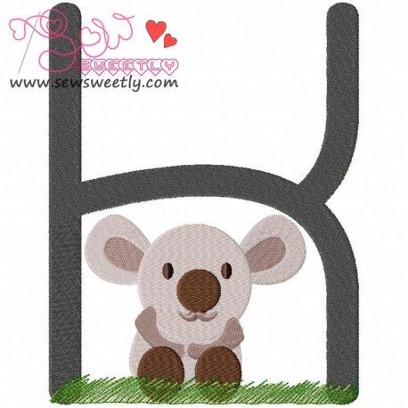 Animal Letter-K- Koala Machine Embroidery Design For Kids