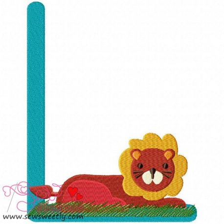 Animal Letter-L- Lion Machine Embroidery Design For Kids