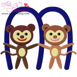 Animal Letter-M- Monkey Machine Embroidery Design For Kids