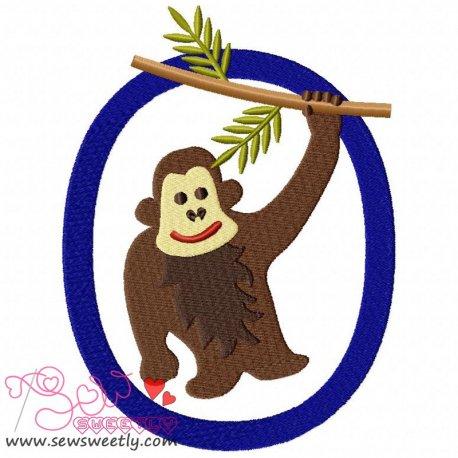 Animal Letter-O- Orang Utan Machine Embroidery Design For Kids