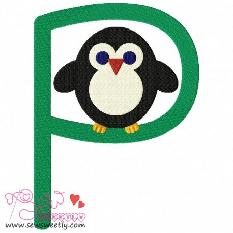 Animal Letter-P- Penguin Machine Embroidery Design For Kids