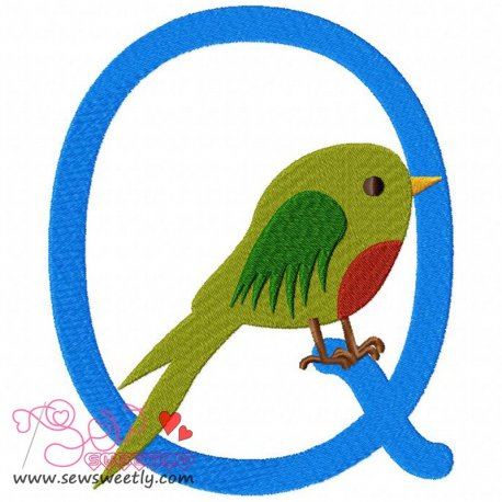 Animal Letter-Q- Quetzal Machine Embroidery Design For Kids