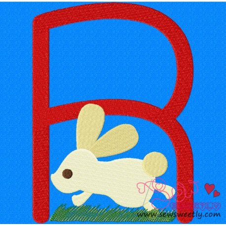 Animal Letter-R- Rabbit Machine Embroidery Design For Kids