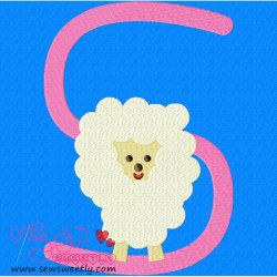 Animal Letter-S- Sheep Machine Embroidery Design For Kids