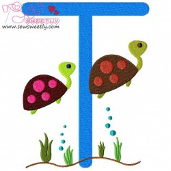 Animal Letter-T- Turtle Machine Embroidery Design For Kids
