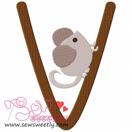 Animal Letter-V- Vole Machine Embroidery Design For Kids