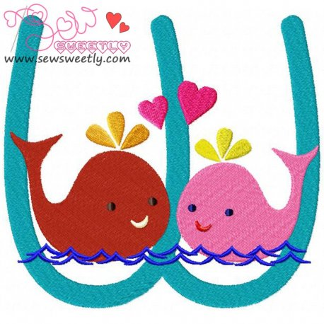 Animal Letter-W- Whale Machine Embroidery Design For Kids