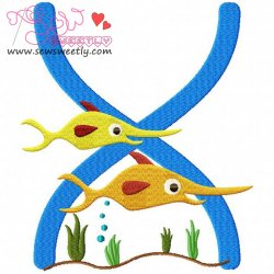 Animal Letter-X- Xiphias Machine Embroidery Design For Kids