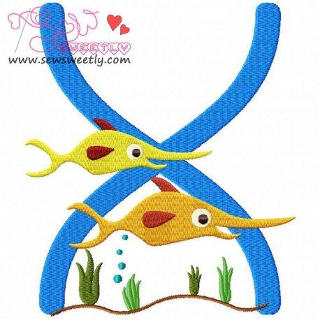 Animal Letter-X- Xiphias Machine Embroidery Design For Kids
