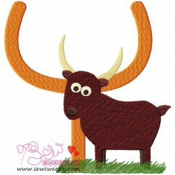 Animal Letter-Y- Yak Machine Embroidery Design For Kids